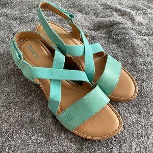Born aqua wedge sandals size 10